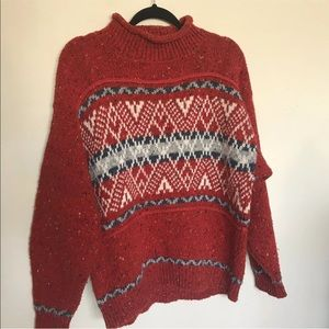 Sweaters - French navy red sweater Vintage mock neck winter